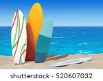 colorful summer surfboards on... | Shutterstock . vector #520607032
