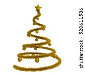 golden xmas tree isolated over... | Shutterstock . vector #520611586