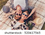 top view of a couple in love... | Shutterstock . vector #520617565