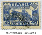 Vintage World Postage Stamp Ephemera (editorial) brazil circa 1944 - stock photo