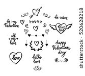 Set of hand drawn Valentine's day design elements. Hearts, arrows, wreath, phrases. Hand written greetings.