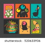 set of retro postage s stamp... | Shutterstock .eps vector #520633936