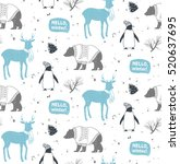 seamless winter pattern with... | Shutterstock .eps vector #520637695
