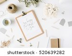 flat lay  top view office table ... | Shutterstock . vector #520639282