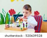cute boy  kid in wheelchair... | Shutterstock . vector #520639528