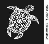 turtle tattoo in maori style on ... | Shutterstock .eps vector #520641082