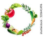 watercolor vegetables. | Shutterstock . vector #520641496