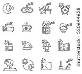 sleep icons set. attributes for ... | Shutterstock .eps vector #520644628