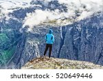 young woman hiker wanderer... | Shutterstock . vector #520649446