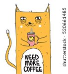 funny cat with  coffee mug. ... | Shutterstock .eps vector #520661485
