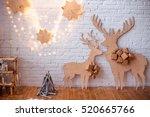 beautiful christmas interior.... | Shutterstock . vector #520665766