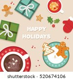 happy holidays. top view of... | Shutterstock .eps vector #520674106