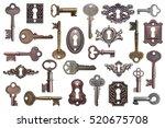 set of old keys and keyholes... | Shutterstock . vector #520675708