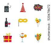 holiday icons set. flat... | Shutterstock .eps vector #520678672