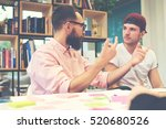 two male hipsters architects... | Shutterstock . vector #520680526