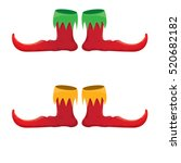 Vector Red Christmas Elf Shoes...