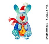 cute watercolor hare character... | Shutterstock . vector #520685746