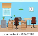 winter office room interior... | Shutterstock .eps vector #520687702
