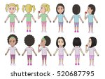vector of multicultural girls... | Shutterstock .eps vector #520687795