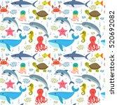 seamless pattern with cartoon...   Shutterstock .eps vector #520692082