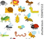 cute cartoon seamless pattern... | Shutterstock .eps vector #520692112