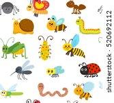 cute cartoon seamless pattern... | Shutterstock .eps vector #520692112