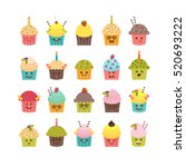 set of cupcakes and muffins.... | Shutterstock .eps vector #520693222