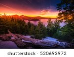 Crater Lake National Park Wizard Island and Watchman Peak Oregon at Sunset