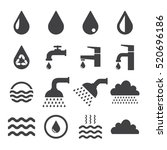 water related icons set on... | Shutterstock .eps vector #520696186