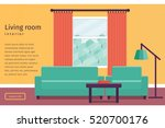 Living room interior with window in flat design. Banner with text. Vector illustration. Background. | Shutterstock vector #520700176