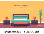 bedroom interior in flat style. ... | Shutterstock .eps vector #520700185