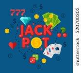 illustration of casino elements ... | Shutterstock . vector #520700302