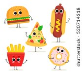 cute set of five cartoon fast... | Shutterstock .eps vector #520714318