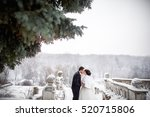 winter wedding  young couple... | Shutterstock . vector #520715806