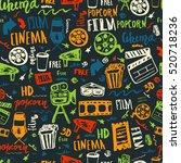 cinema hand drawn seamless... | Shutterstock .eps vector #520718236