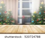 christmas tree with top wood... | Shutterstock . vector #520724788