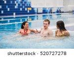 joyful friends relaxing in... | Shutterstock . vector #520727278