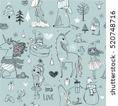 seamless pattern with princess... | Shutterstock .eps vector #520748716