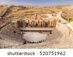 Small photo of Large South Theatre - in antique town Jerash, Jordan