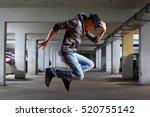 young man break dancing on wall ... | Shutterstock . vector #520755142