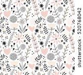 romantic seamless vector floral ... | Shutterstock .eps vector #520768042