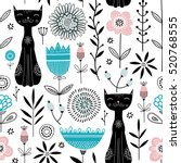 Stock vector vector seamless pattern with cute black cats and flowers 520768555