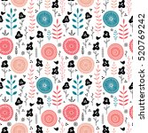 stylish vector floral seamless... | Shutterstock .eps vector #520769242