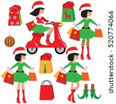 christmas elf girl vector... | Shutterstock .eps vector #520774066