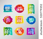 set of colorful sale labels... | Shutterstock .eps vector #520779352