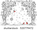 artistic trees  xmas balls and... | Shutterstock .eps vector #520779472