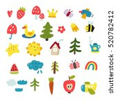 cute vector set for kids | Shutterstock .eps vector #520782412