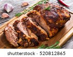 big piece of slow cooked oven... | Shutterstock . vector #520812865