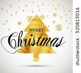 christmas gold tree. brush...   Shutterstock .eps vector #520815016