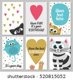 set of 6 cute creative cards... | Shutterstock .eps vector #520815052